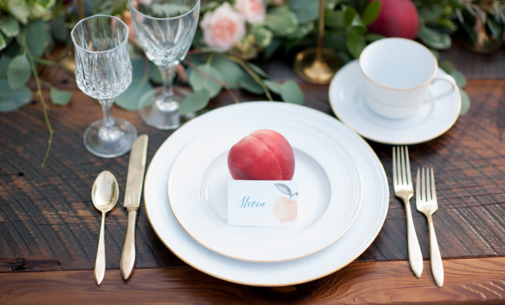 Watercolor Peach Place Card