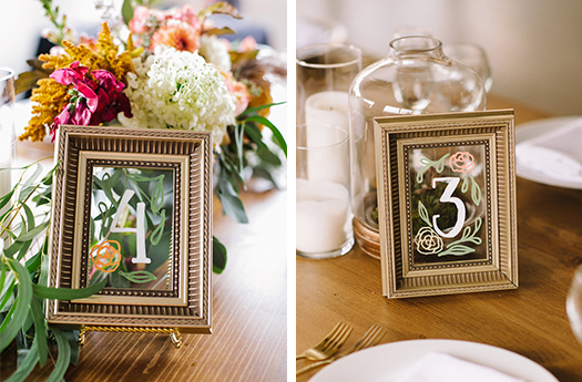 Framed Hand Lettered Table Numbers