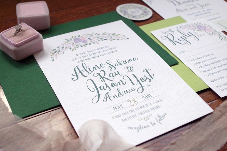 custom garden wedding invitation