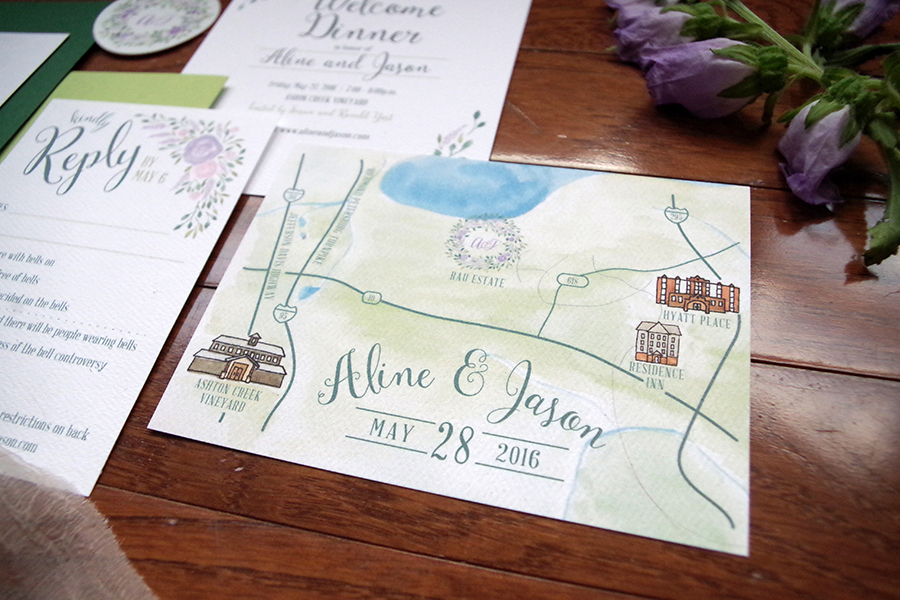 custom garden wedding invitation map