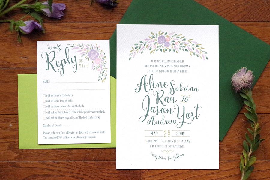 Aline & Jason   Garden Wedding Invitations - Whimsy Design Studio