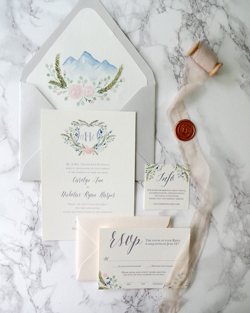 watercolor wedding invitations with crest