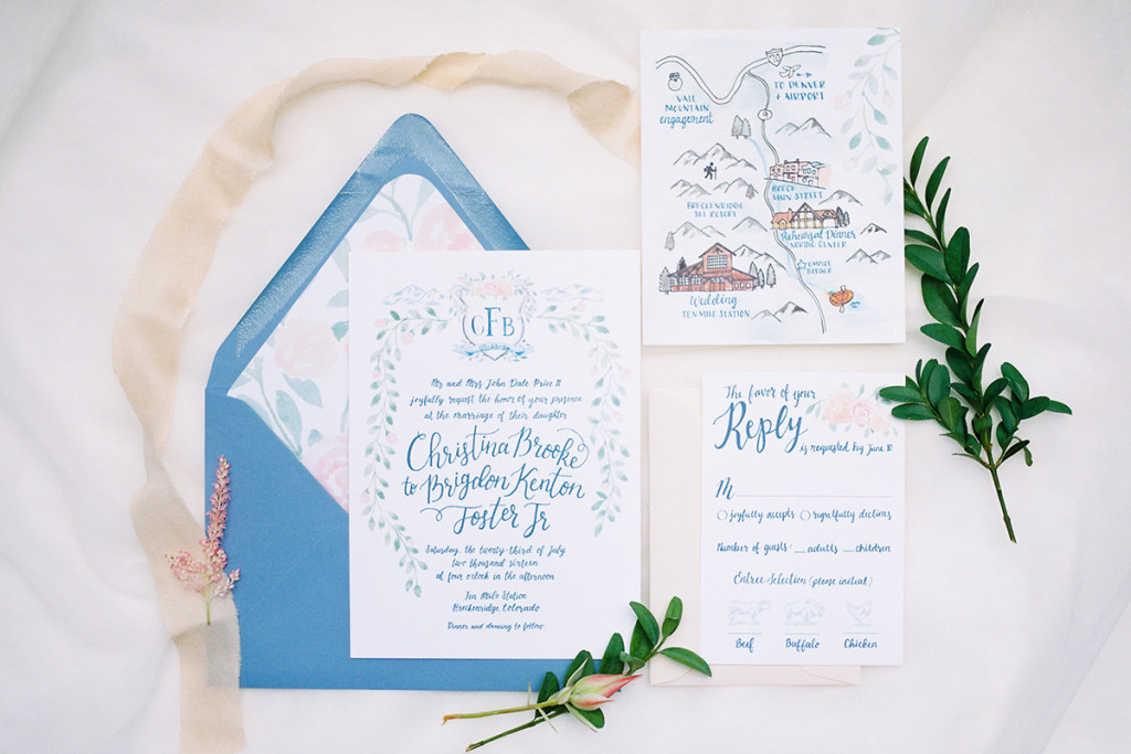 Watercolor invitation suite Wedding Crest