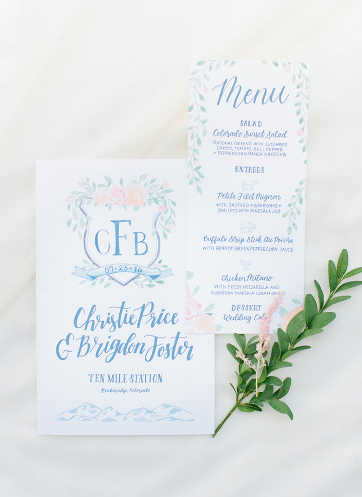 watercolor wedding crest ceremony program