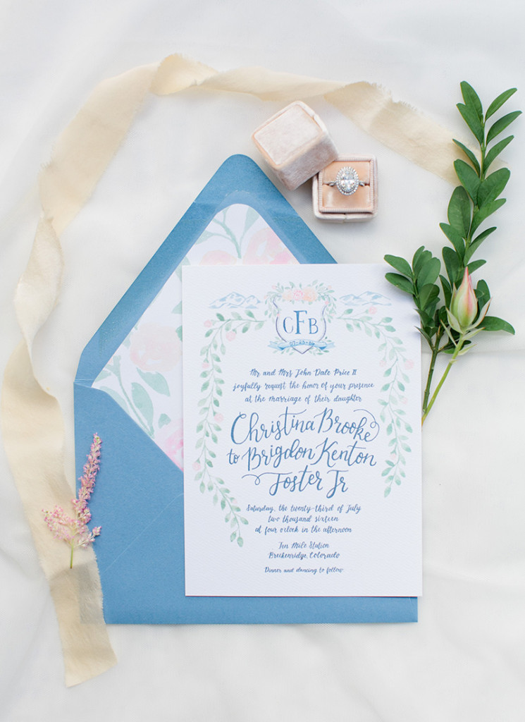 watercolor wedding crest invitation