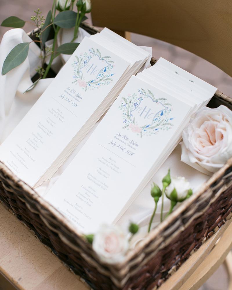 watercolor wedding crest programs