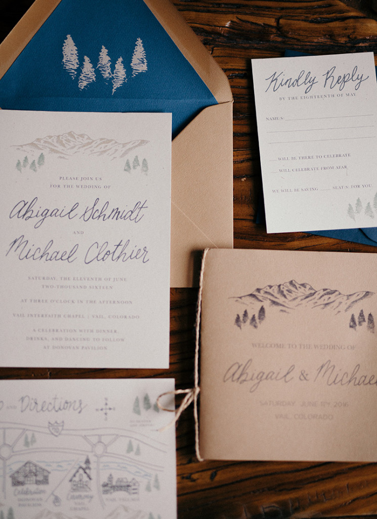 mountain wedding stationery