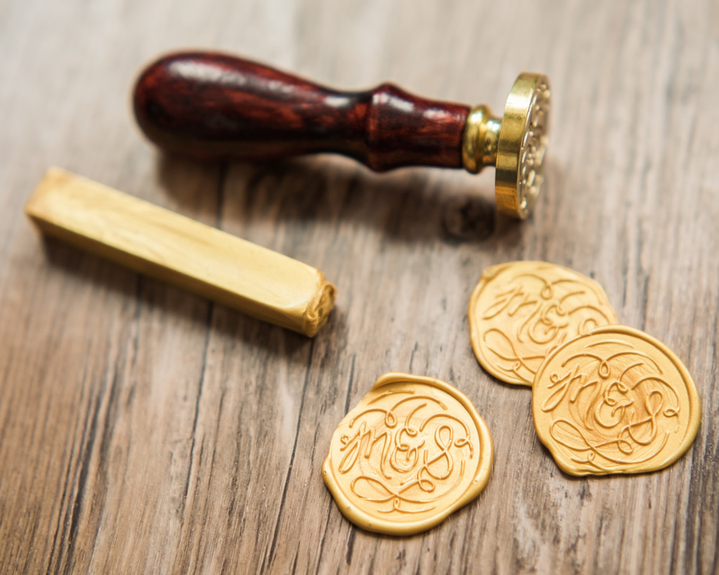 gold wax seal monogram