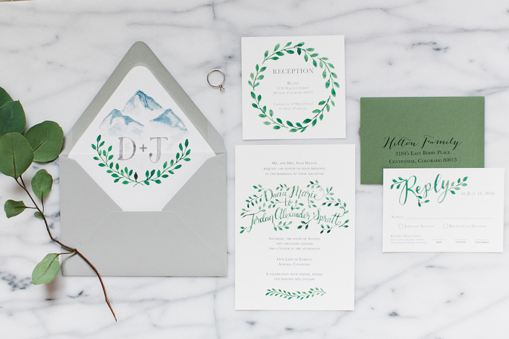 Greenery Wedding invitation suite Watercolor