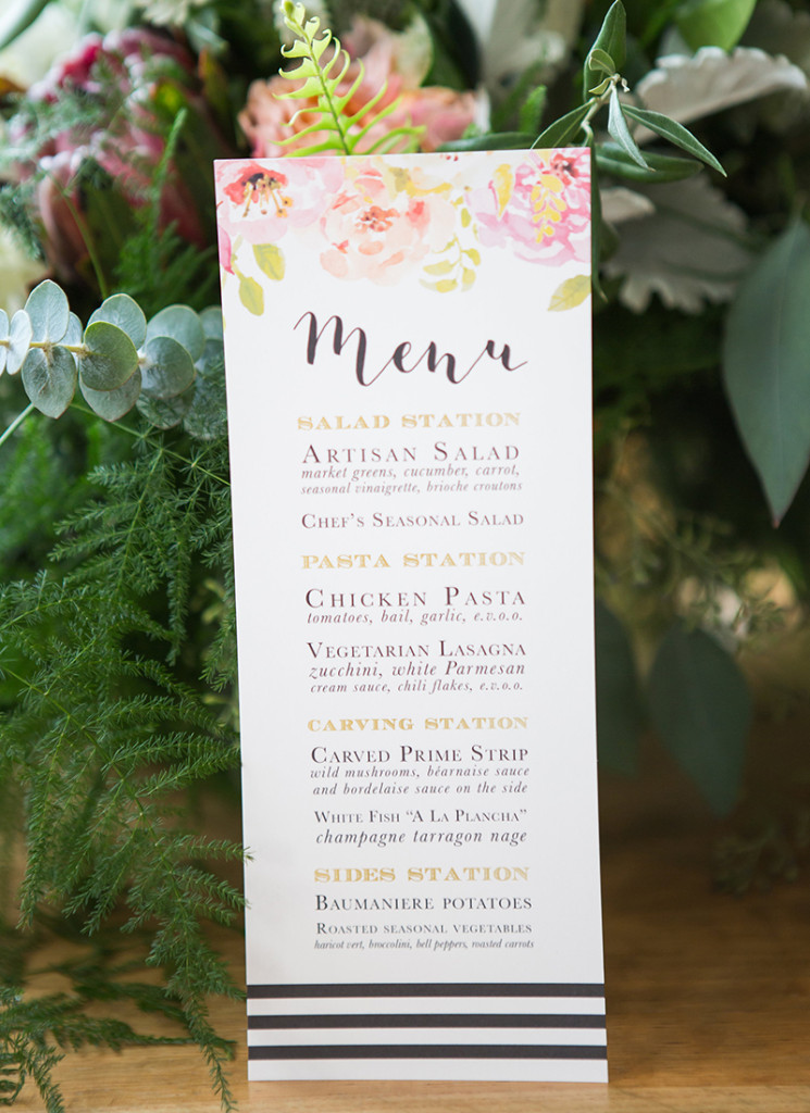 flowers and stripes menu