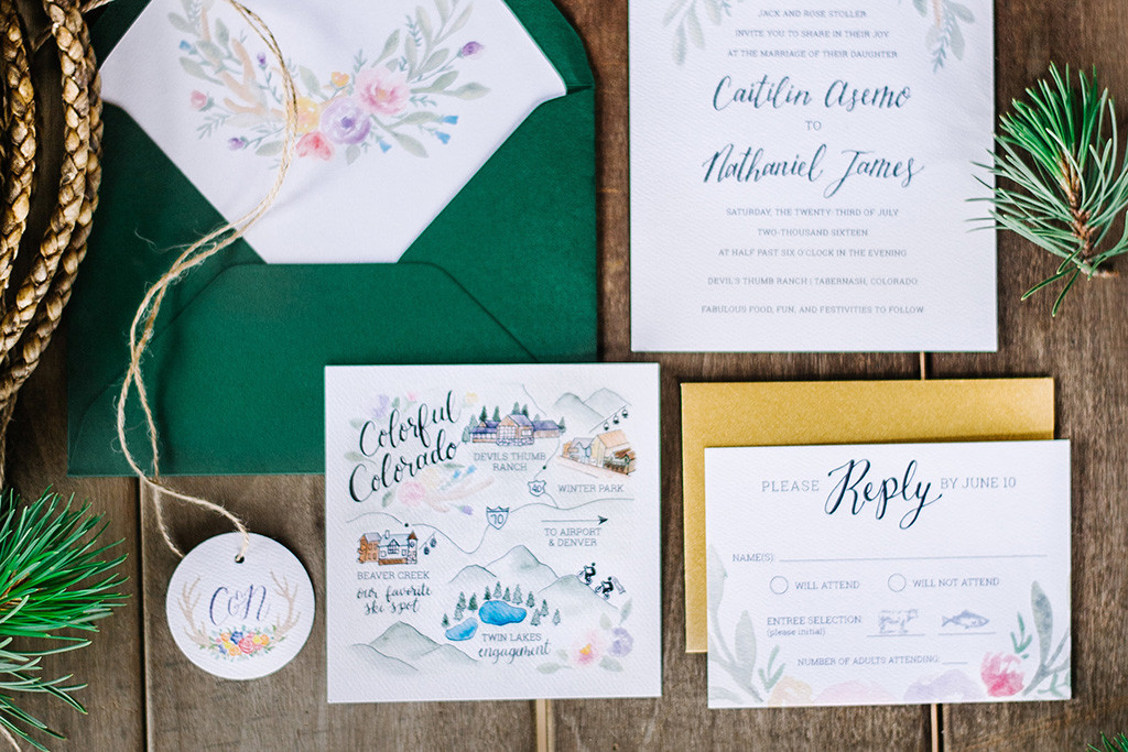 Rustic invitation suite Watercolor Wedding Map
