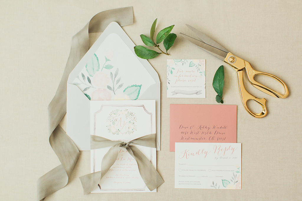 Watercolor Wedding Crest invitation suite