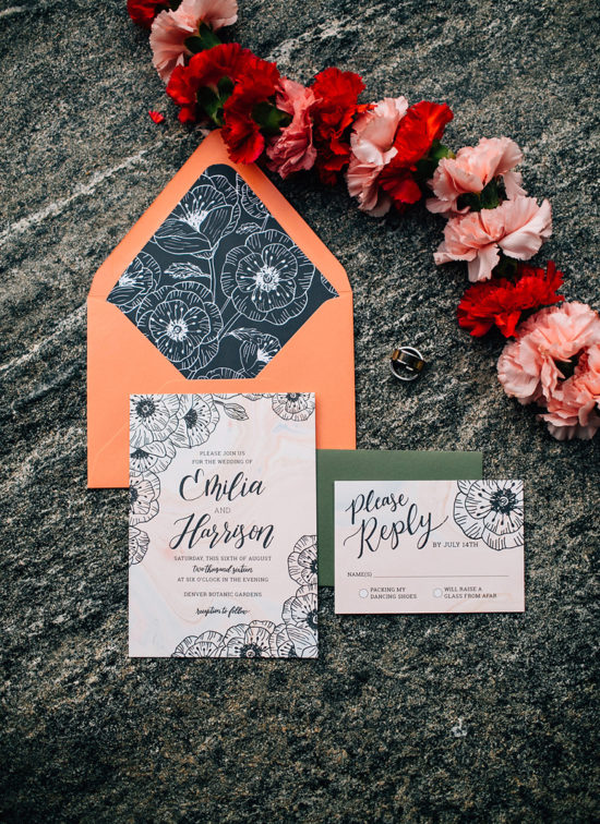 edgy garden wedding invitation suite