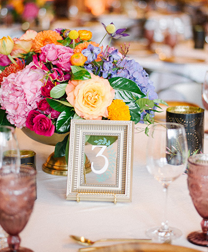 Table Numbers - Brassy Gold Frames - Whimsy Design Studio