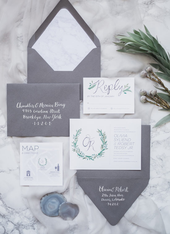 white grey wedding invitations