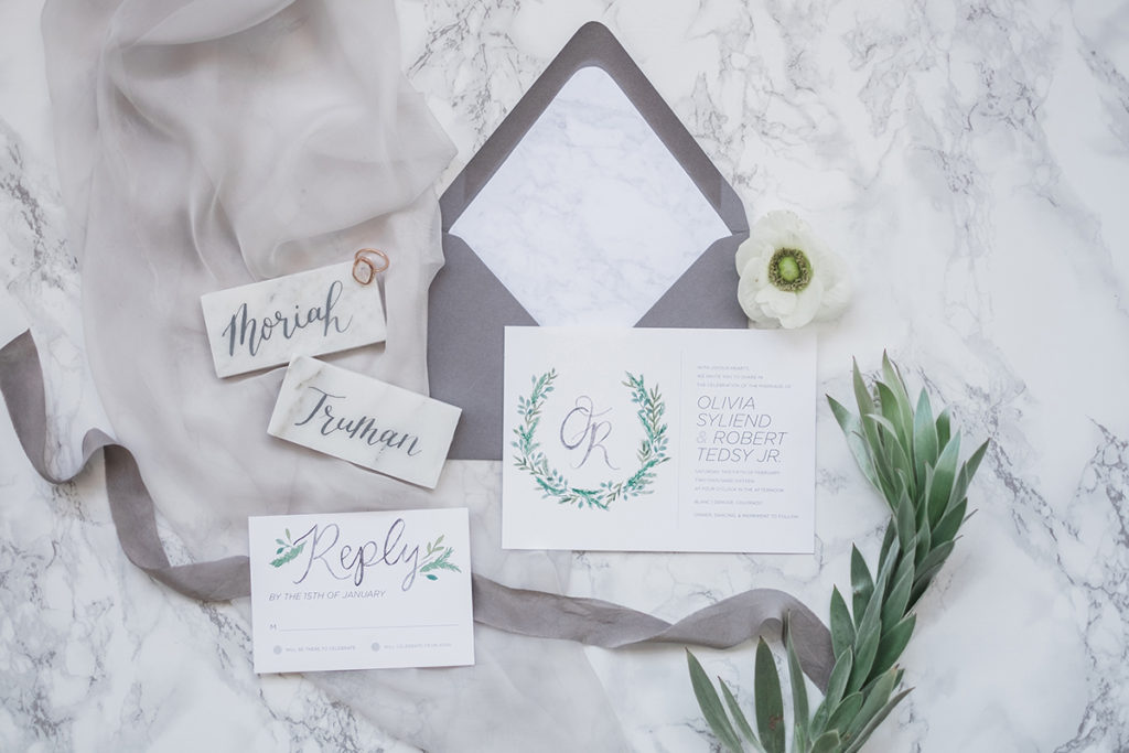 marble watercolor wedding invitations