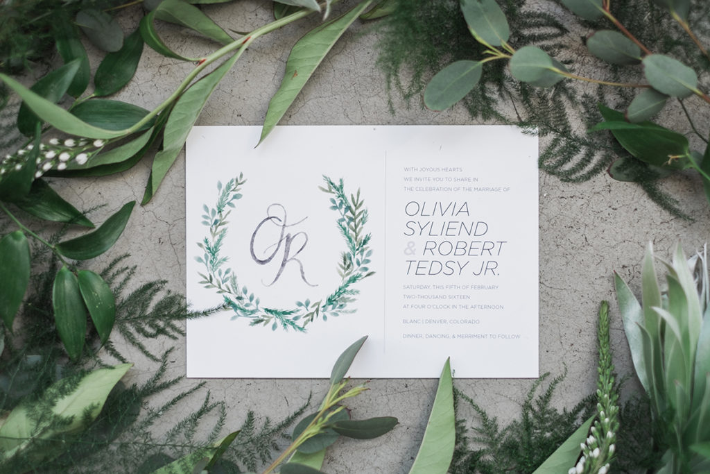 green wreath monogram invitation