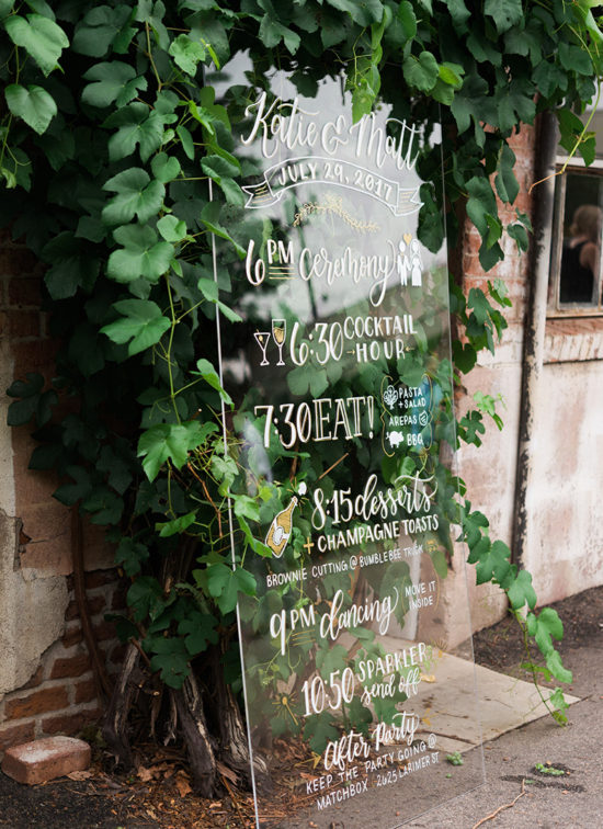 large acrylic wedding sign itinerary timeline illustrated
