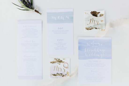 watercolor wash custom wedding stationery muted palette gold foil