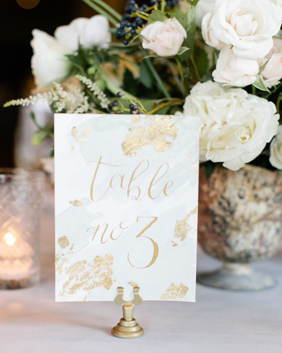 watercolor wash gold calligraphy and gold foil table numbers