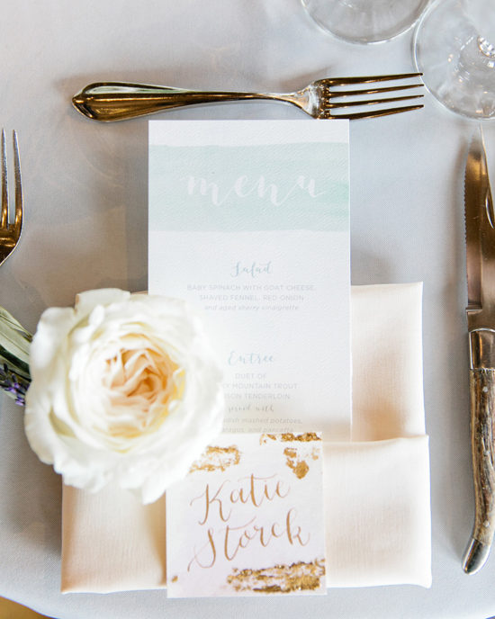 watercolor wash and gold foil place cards