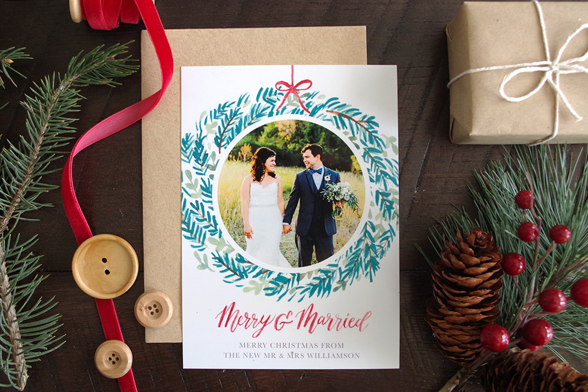 Wreath Newlywed Christmas Card