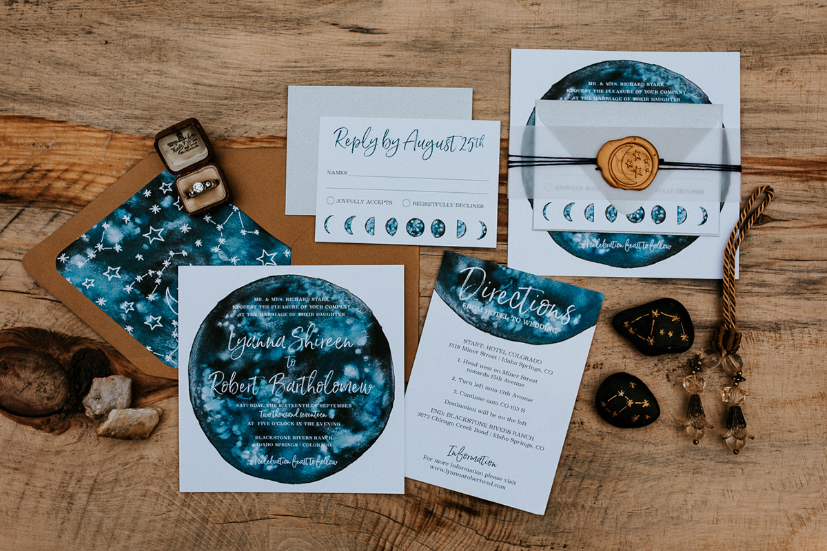 Celestial Game of Thrones Wedding Inspiration Custom wedding invitation set with galaxy watercolor, moon phases, constellations, and gold wax seal