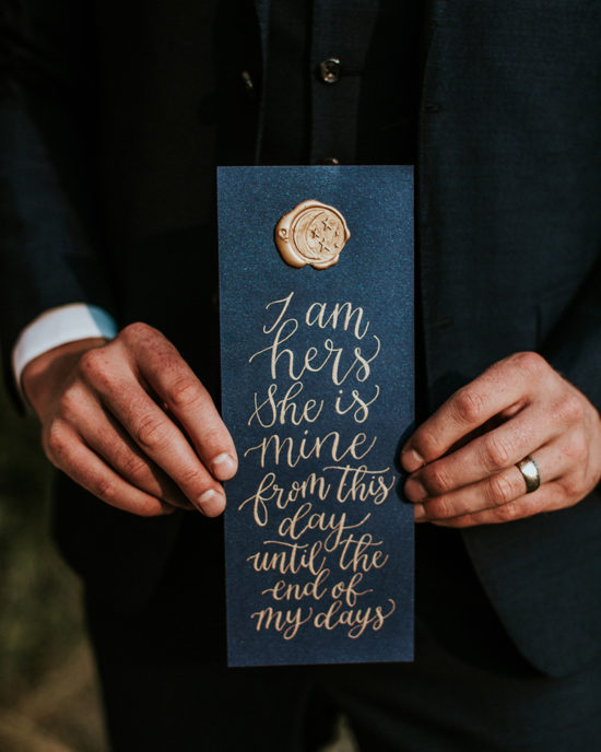 Celestial Game of Thrones Wedding Inspiration - Calligraphy vows with wax seal - I am hers, she is mine from this day until the end of my days