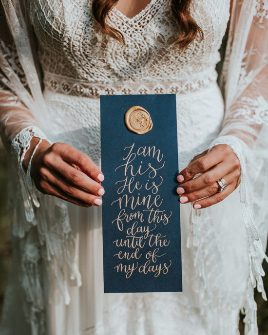 Celestial Game of Thrones Wedding Inspiration - Calligraphy vows with wax seal - I am his, he is mine from this day until the end of my days