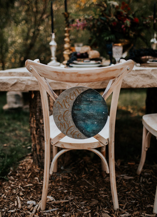 Celestial Game of Thrones Wedding Inspiration - Moon of my Life chair sign Khalessi