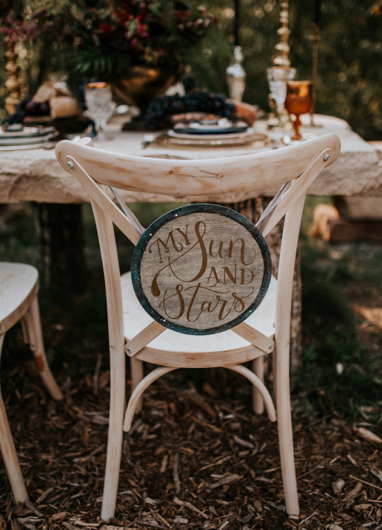 Celestial Game of Thrones Wedding Inspiration - My Sun and Stars chair sign Khalessi