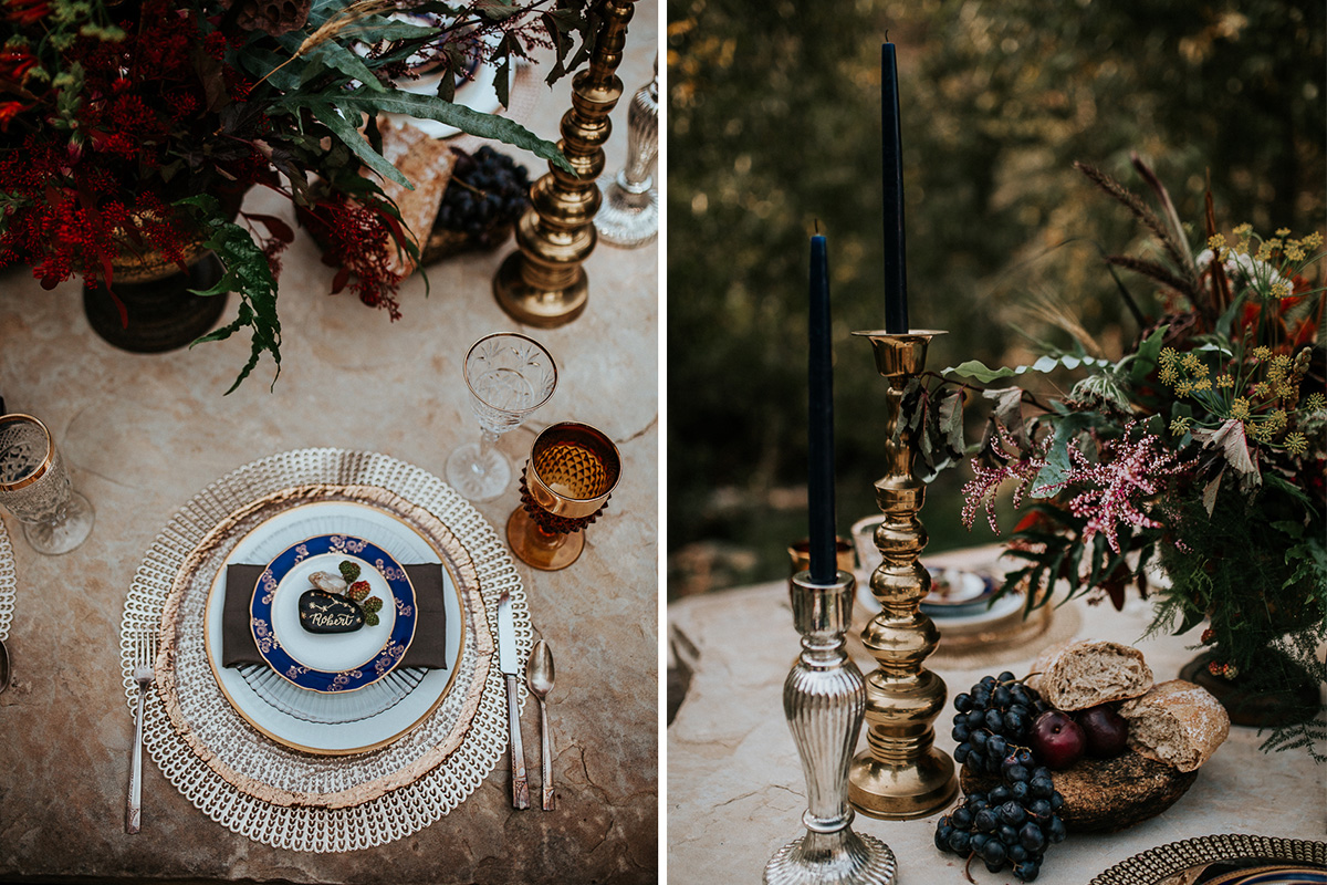 Celestial Game of Thrones Wedding Inspiration - table setting with gold calligraphy constellation river rock place cards