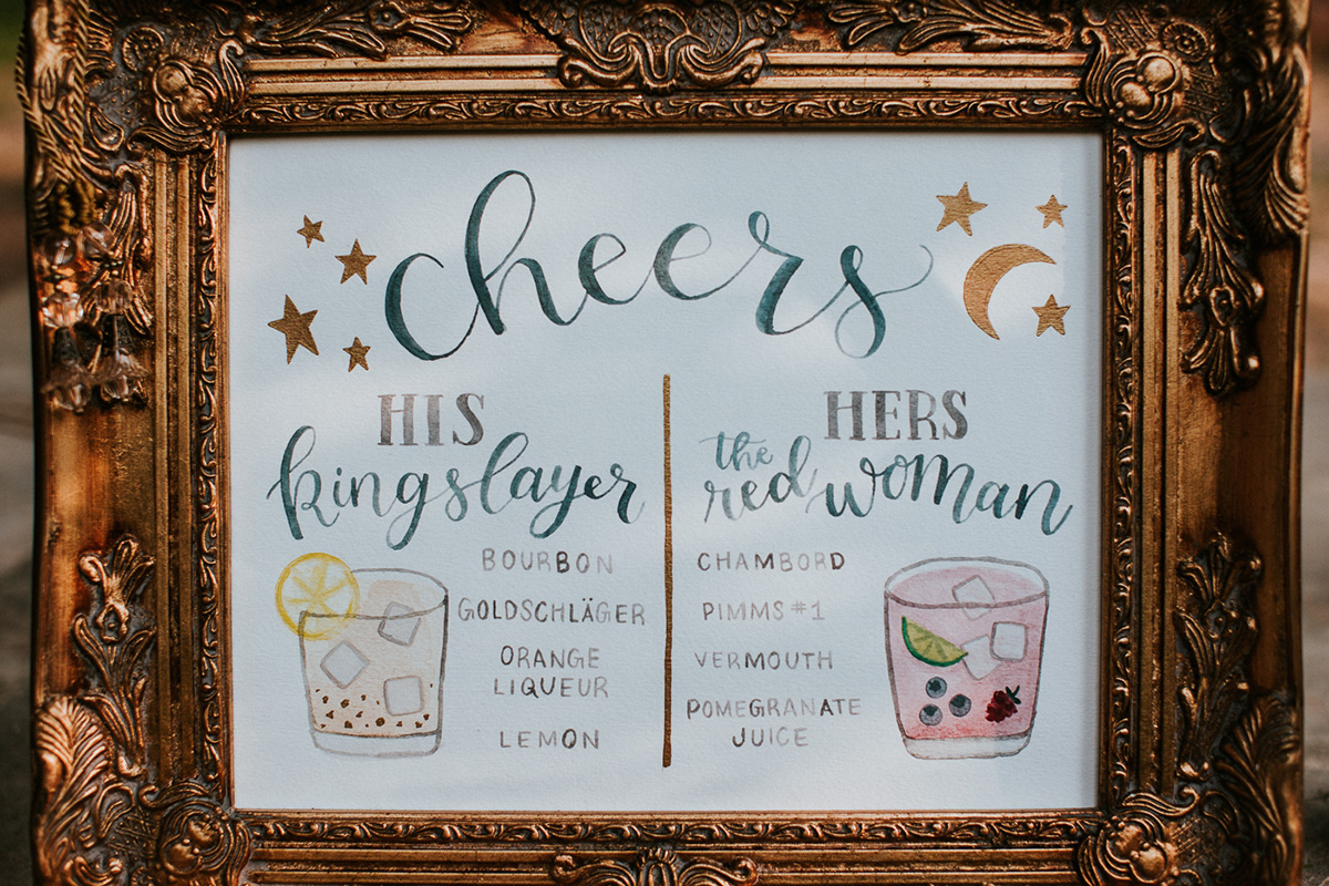Celestial Wedding Inspiration - watercolor signature drink bar menu with illustrated Game of Thrones inspired cocktails