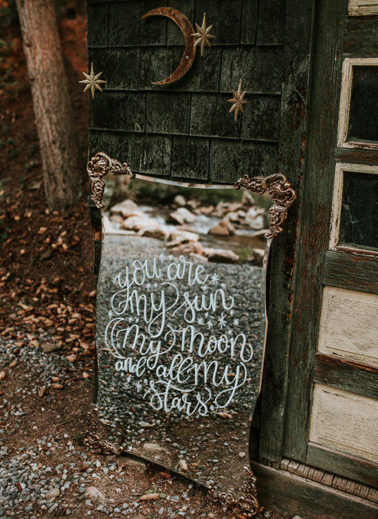 You are my sun my moon and all my stars - celestial wedding inspiration mirror sign