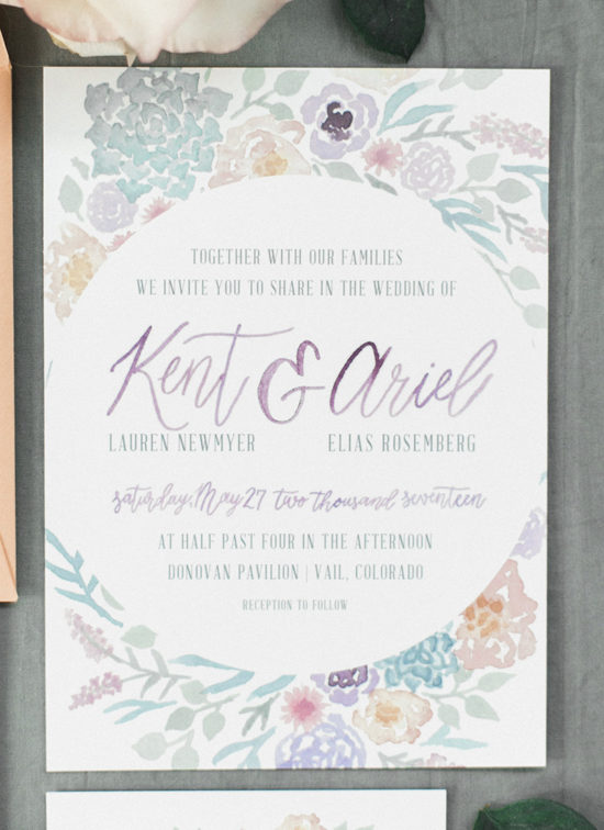 watercolor floral and succulents wedding invitations