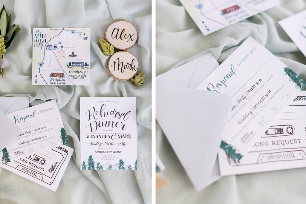 Custom Wedding Invitation Suite with Watercolor Crest featuring dog and city skyline, hand lettered stationery, watercolor mountains and evergreen trees, hops