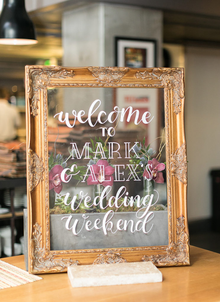 Welcome Sign Wedding Weekend - acrylic in gold frame