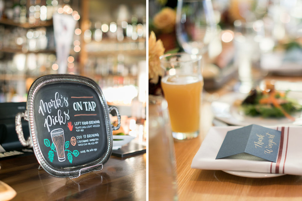 chalkboard bar sign beers on tap wedding welcome dinner