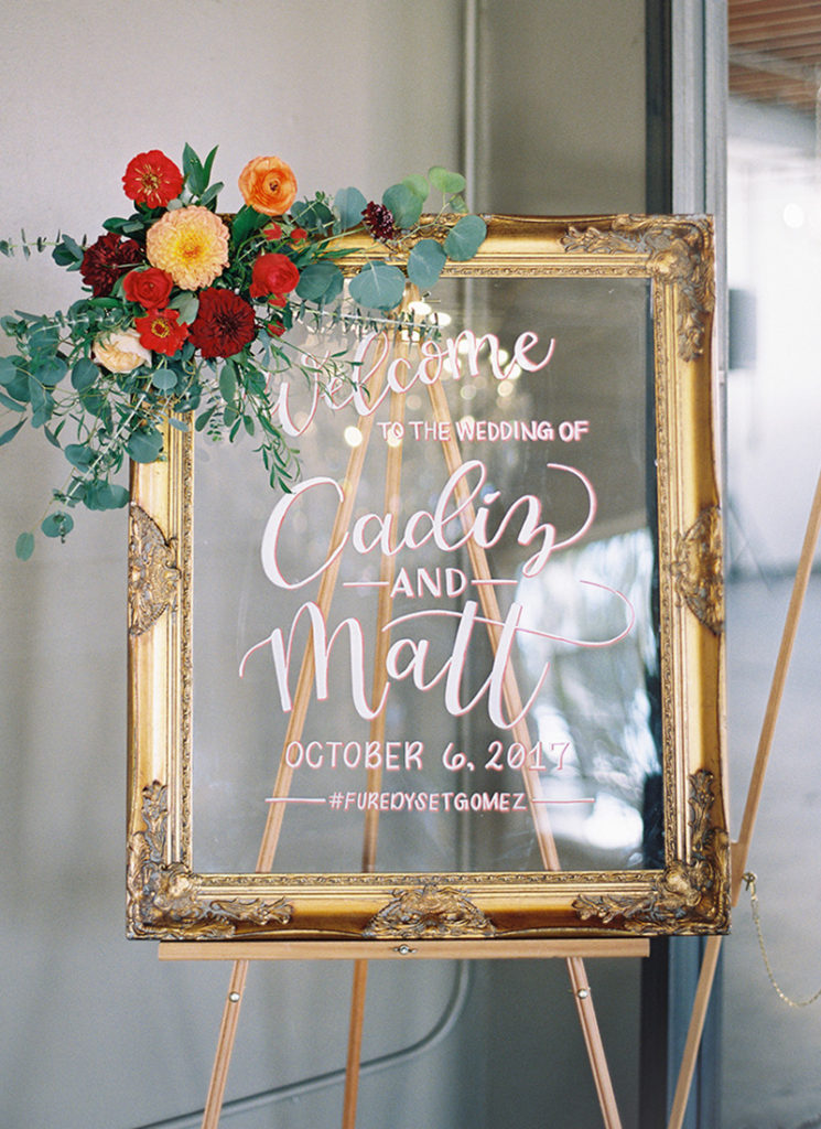 Acrylic Welcome Sign Gold Frame Urban Fall Wedding
