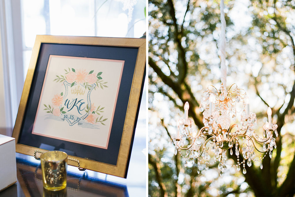soft romantic custom monogram watercolor wedding crest with peonies and chandelier