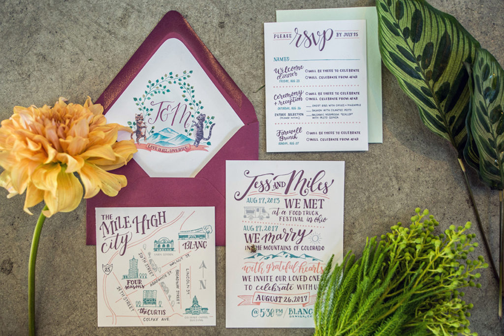 Fun, Eclectic Custom Wedding Invitations with hand lettering, custom map, and Monogram Crest featuring cats and mountains