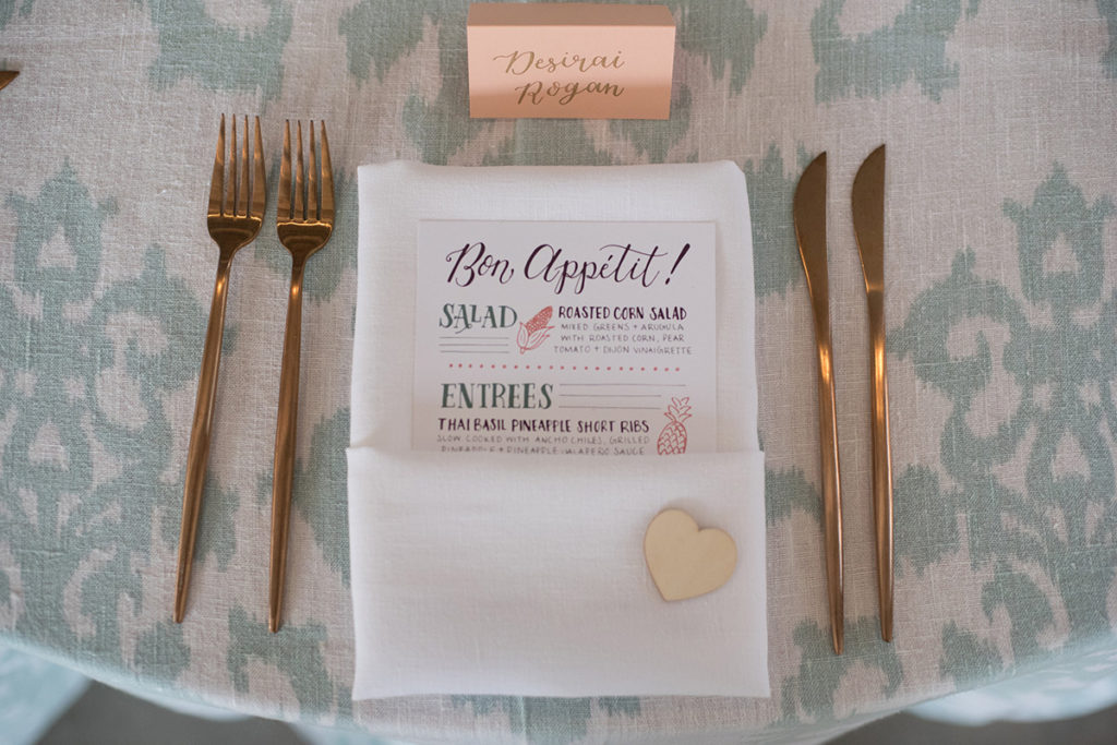 Fun, Eclectic Hand Lettered Wedding Menus with illustrations