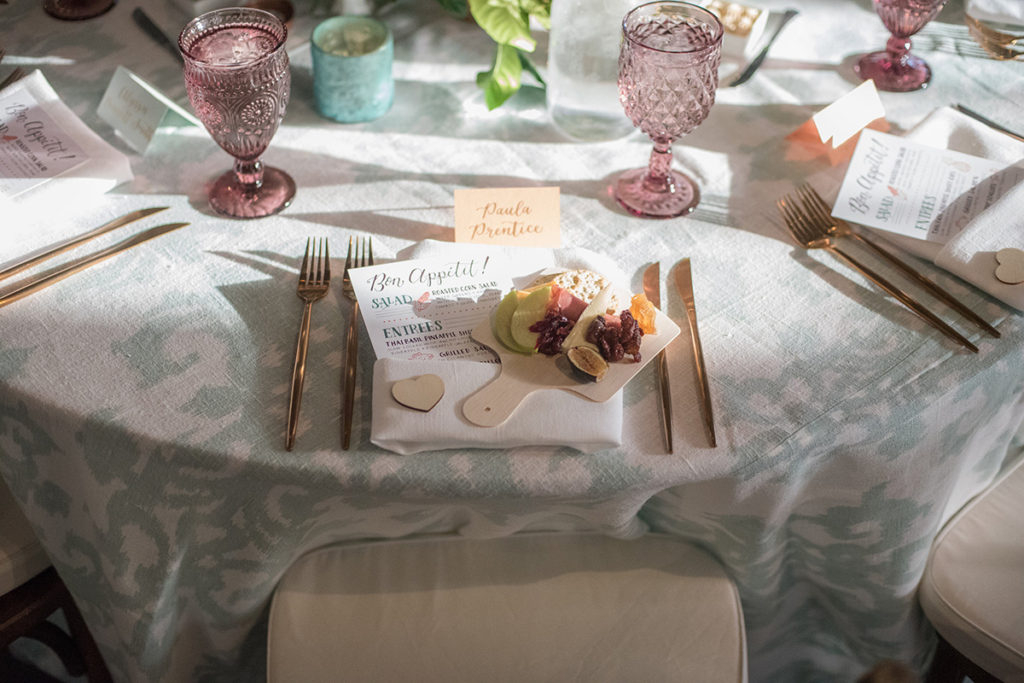 Fun, Eclectic Urban Wedding table setting with hand lettered menu, calligraphy place card, and mini charcuterie board