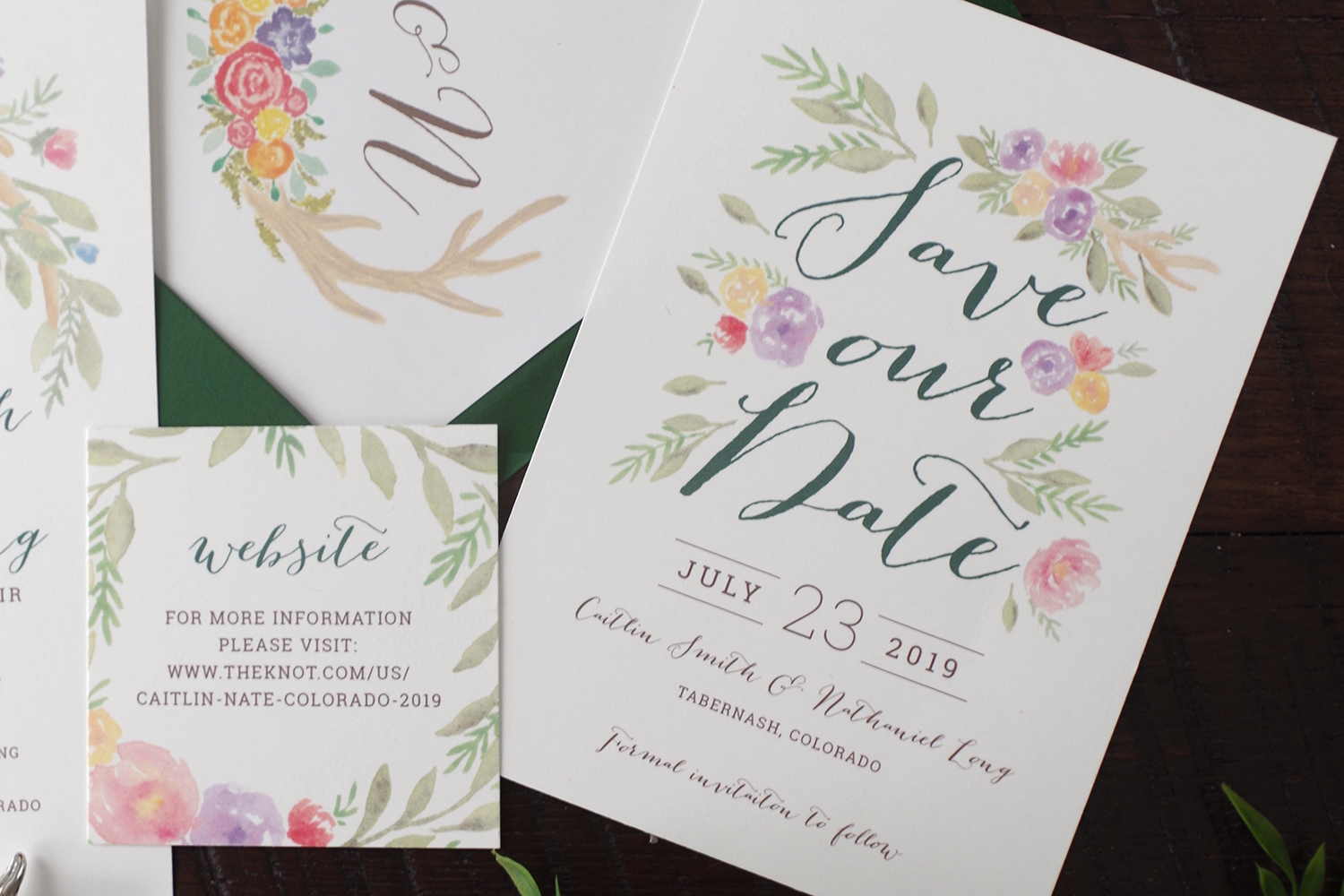 Caitlin Colorful Rustic Wedding Save the Dates