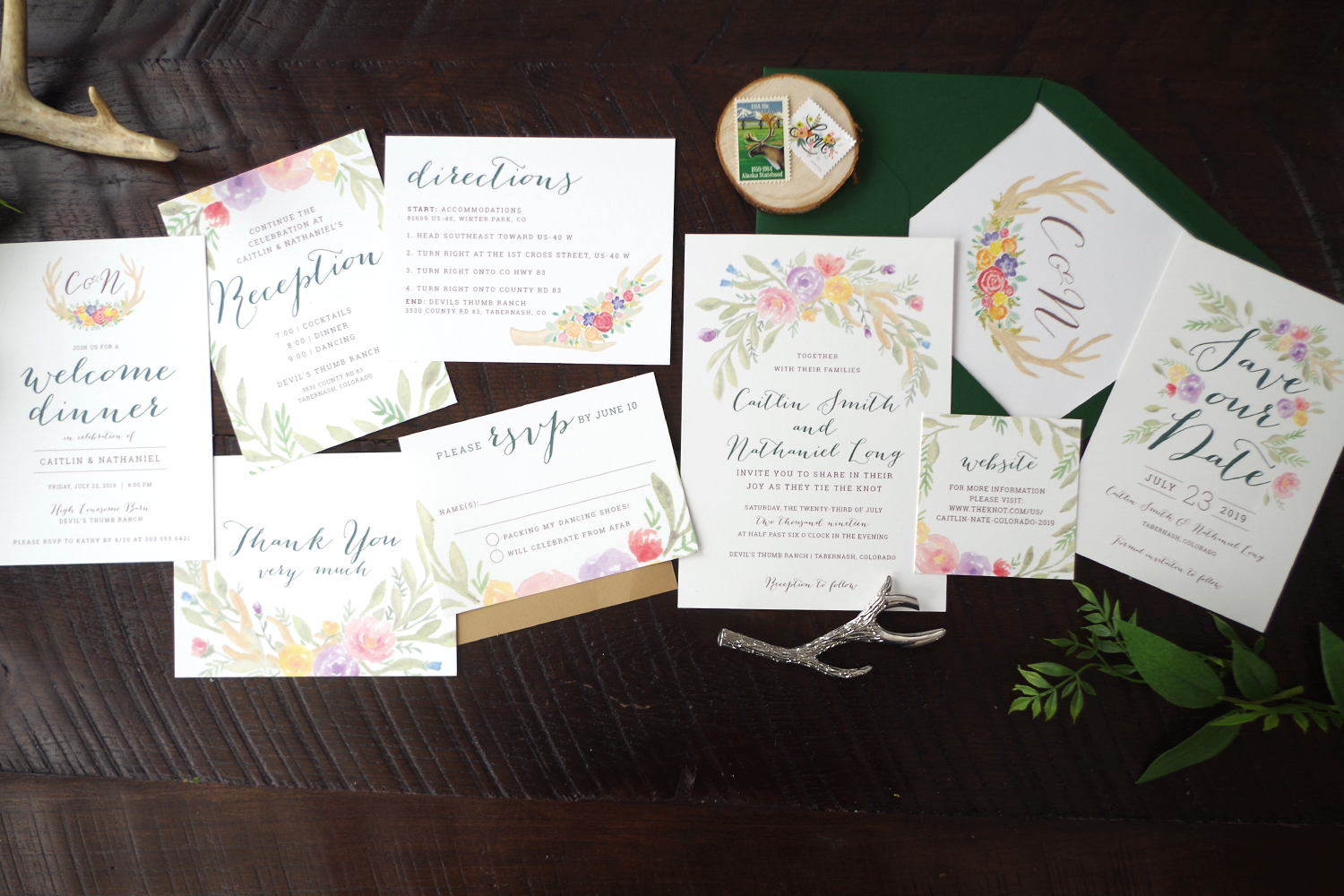 Watercolor Colorful Rustic Wedding Invitation Set