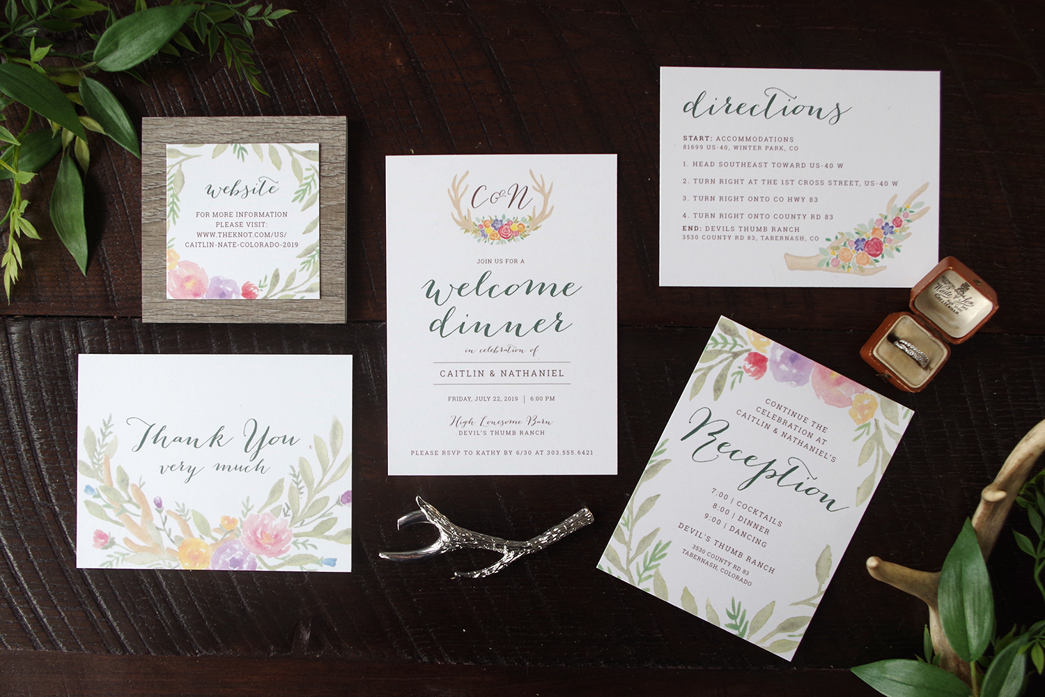 Colorful Rustic Wedding Invitation inserts